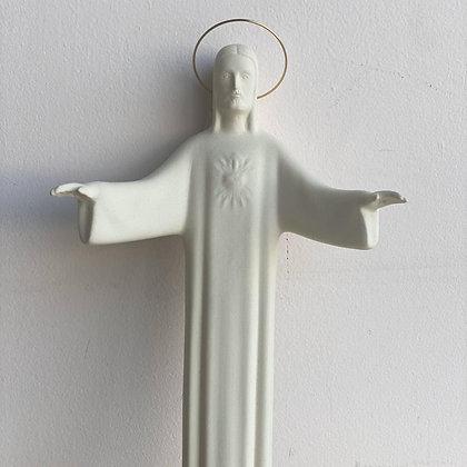 Cristo de Bienvenida en Céramica Blanca 40 Cm