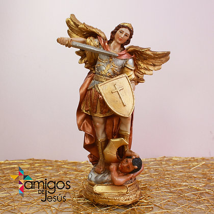 Estatuilla San Miguel Arcángel Capa Bronce