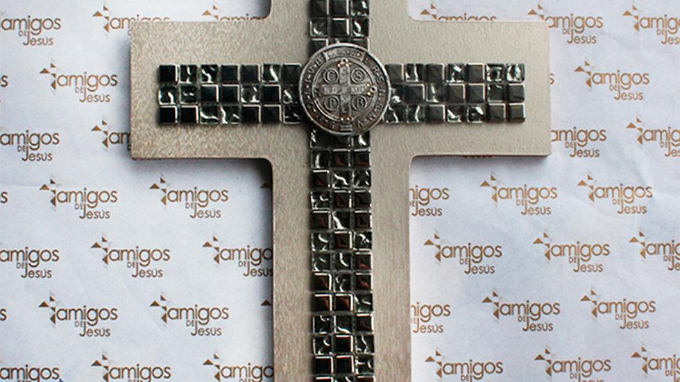 Cruz Medalla de San Benito Plateado