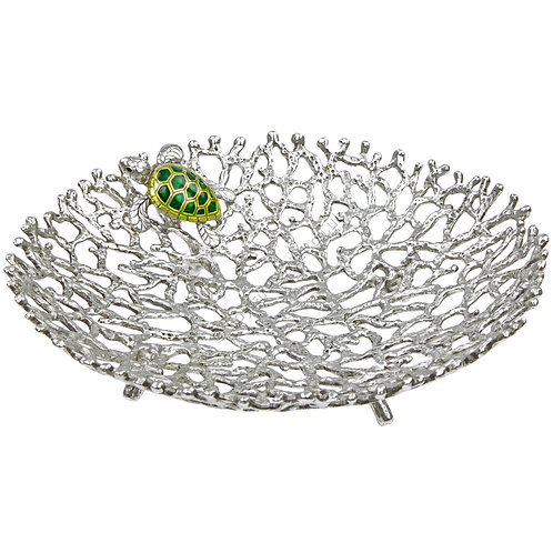 Bowl - Coral with Turtle, Small, Green