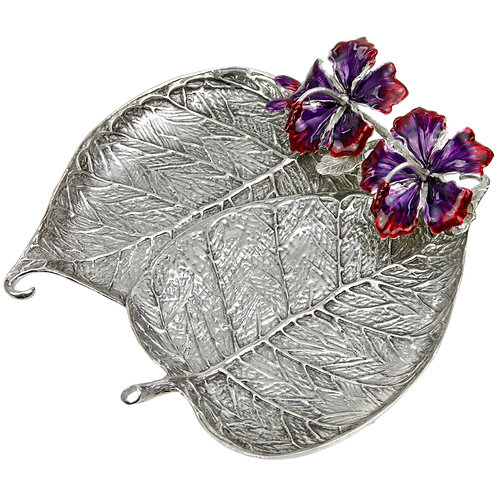 Jewellery Tray - Bo Leaf with Hibiscus, Double