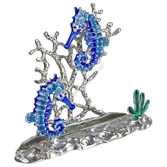 Business Card Holder - Two Seahorses, Blue