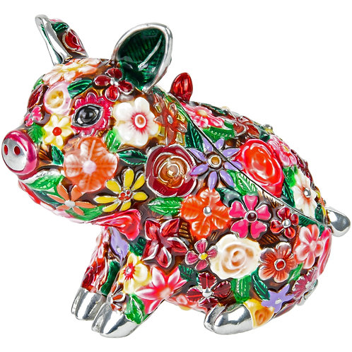 Trinket Box - Little Pig, Flowered, Coloured