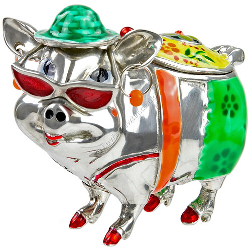 Trinket Box - Pig on Holiday, Green