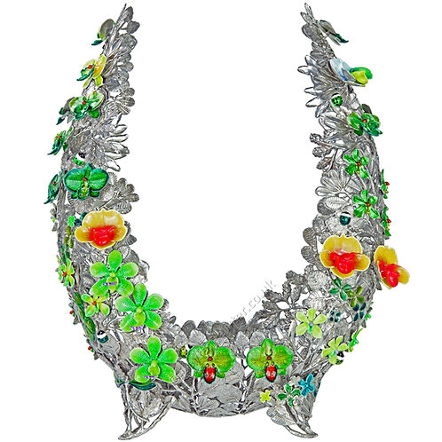 Objet D'Art - Horseshoe, Variety of Orchids, Green