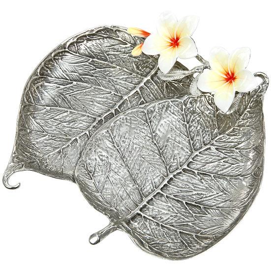 Jewellery Tray - Bo Leaf with Plumeria, Double