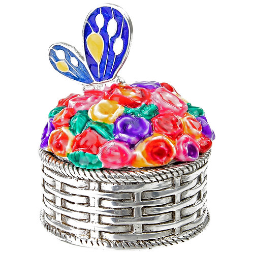 Trinket Box - Flower Basket with Butterfly