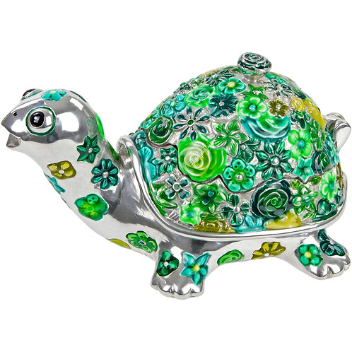 Trinket Box - Tortoise, Flowered, Green