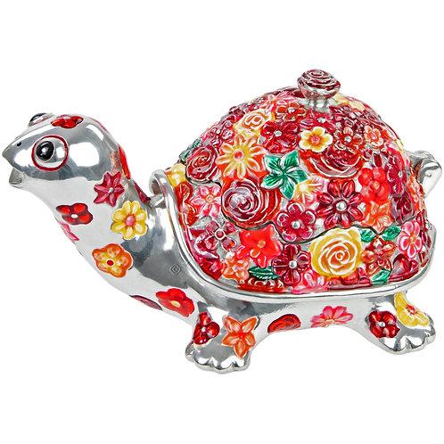 Trinket Box - Tortoise, Flowered, Red