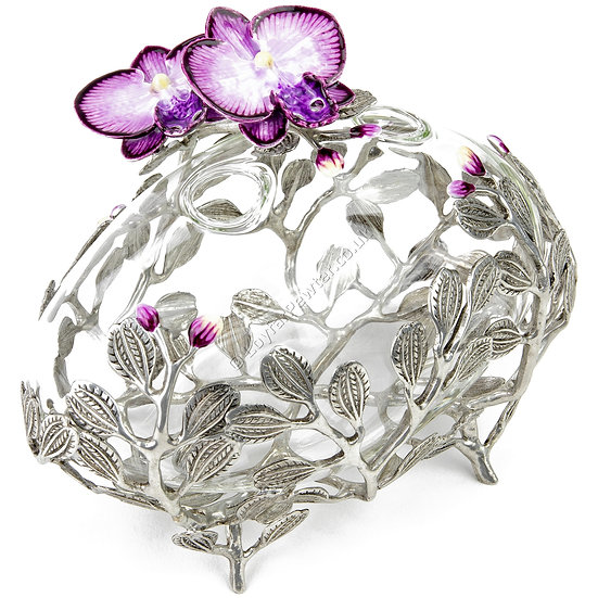 Vase - Oval, Glass with Two Orchids