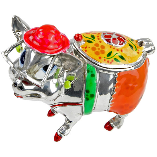 Trinket Box - Pig on Holiday, Red
