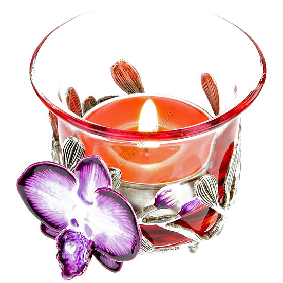 Tea Light Holder - Shot Glass with Orchid