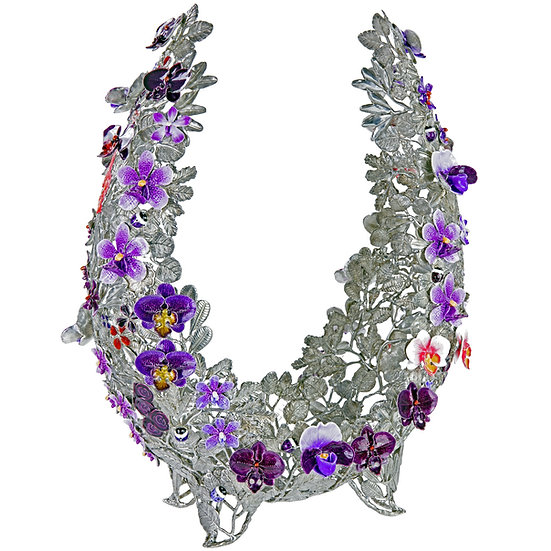 Objet D'Art - Horseshoe, Variety of Orchids, Purple
