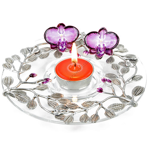 Tea Light Holder - Glass Dish with Two Orchids