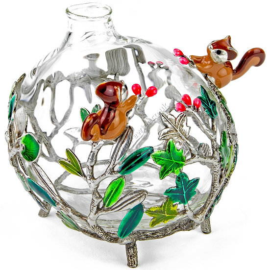 Vase - Round, Glass with Two Squirrels