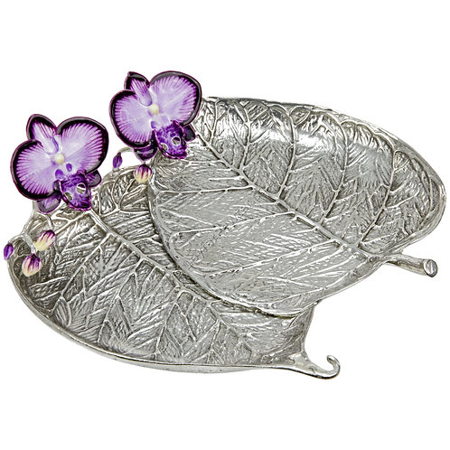 Jewellery Tray - Bo Leaf with Orchid, Double