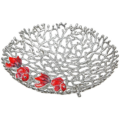 Bowl - Coral with Two Goldfish, Small