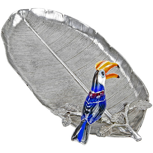 Jewellery Tray - Leaf with Hornbill