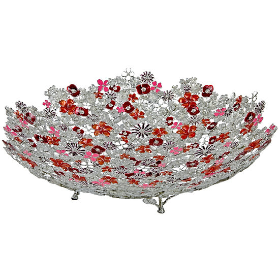 Bowl - Mixed Flowers, Large, Red