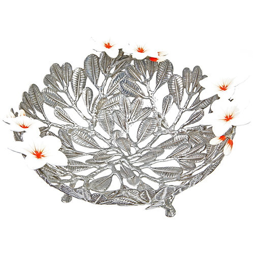 Bowl - Plumeria Leaves with White Flowers, Small