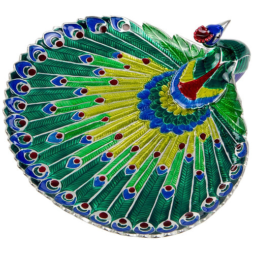 Jewellery Tray - Peacock, Round