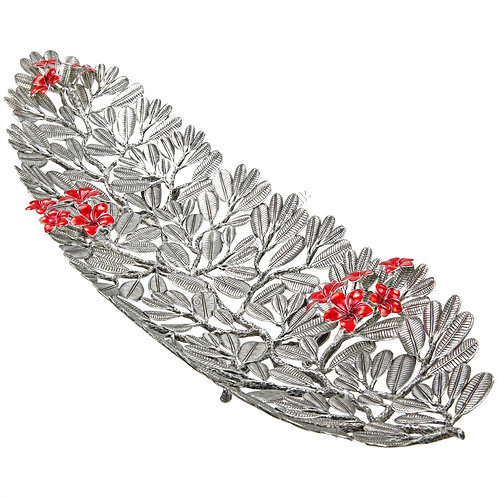 Tray - Plumeria Leaves with Red Flowers