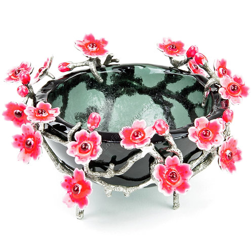 Pot - Black Glass, Sakura Flowers
