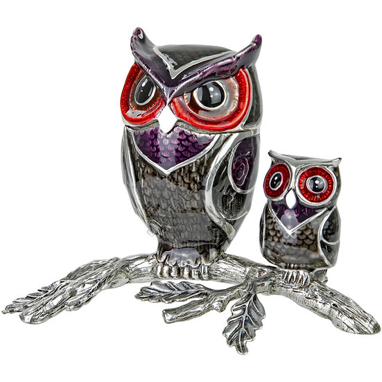 Trinket Box - Two Owls on a Branch, Grey