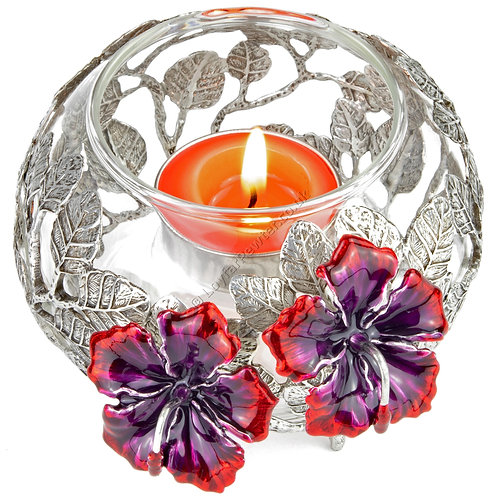 Tea Light Holder - Glass Bowl with Two Hibiscuses