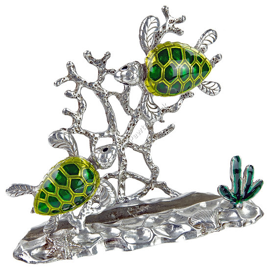 Business Card Holder - Two Turtles, Green