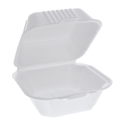 """Pactiv 6""""x6""""x3"""" Foam 1-Compartment Sandwich Hinged-Lid Takeout Container White"""
