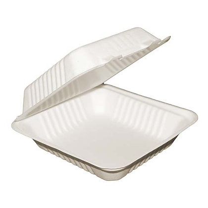 """Table Accents - Compostable Clamshell Containers - 8"""" x 8"""" x 3 - Bagasse"""