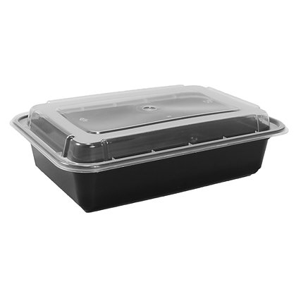 Chef Elite - Plastic Containers with Lids - 38oz - Rectangular