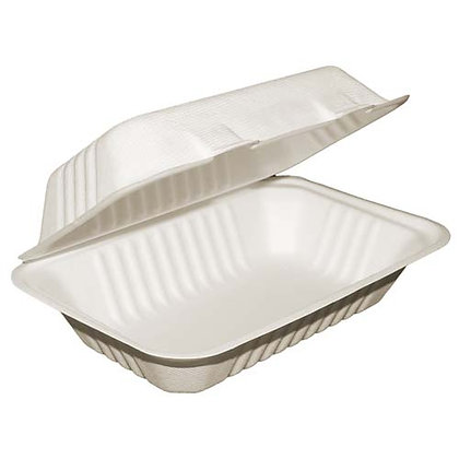 """Table Accents - Compostable Clamshell Containers - 9"""" x 6"""" x 3"""" - Bagasse"""