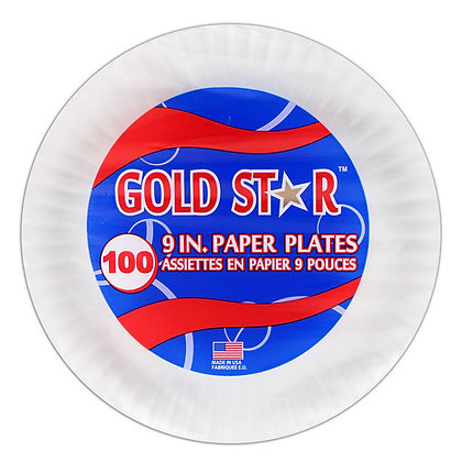 """Gold Star - Paper Plates - 9"""" - Uncoated - White"""