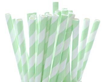 "8"" Jumbo Paper Straw – Green Stripe"