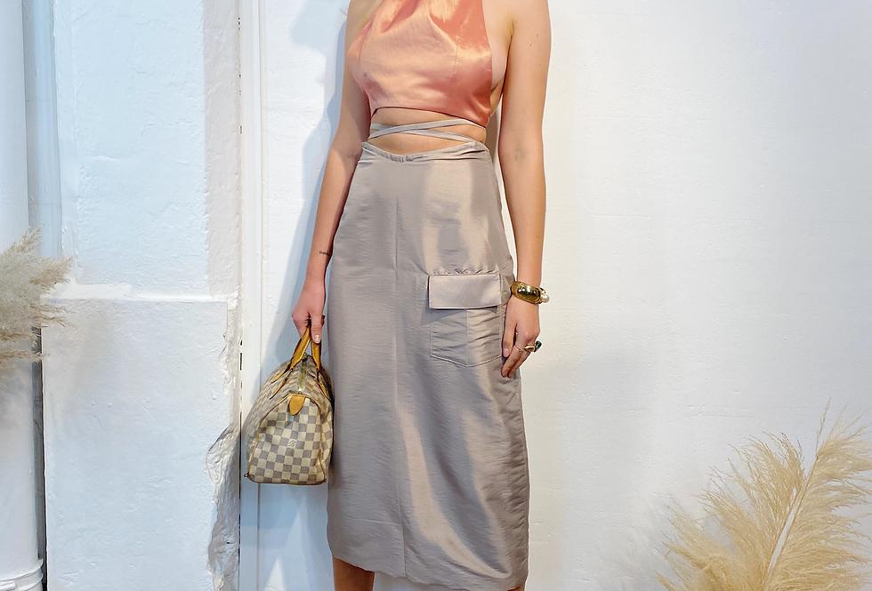 Tie Me Up Midi Skirt - Safari Beige