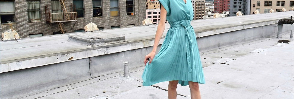 Light Turquoise Pleated Charly Dress