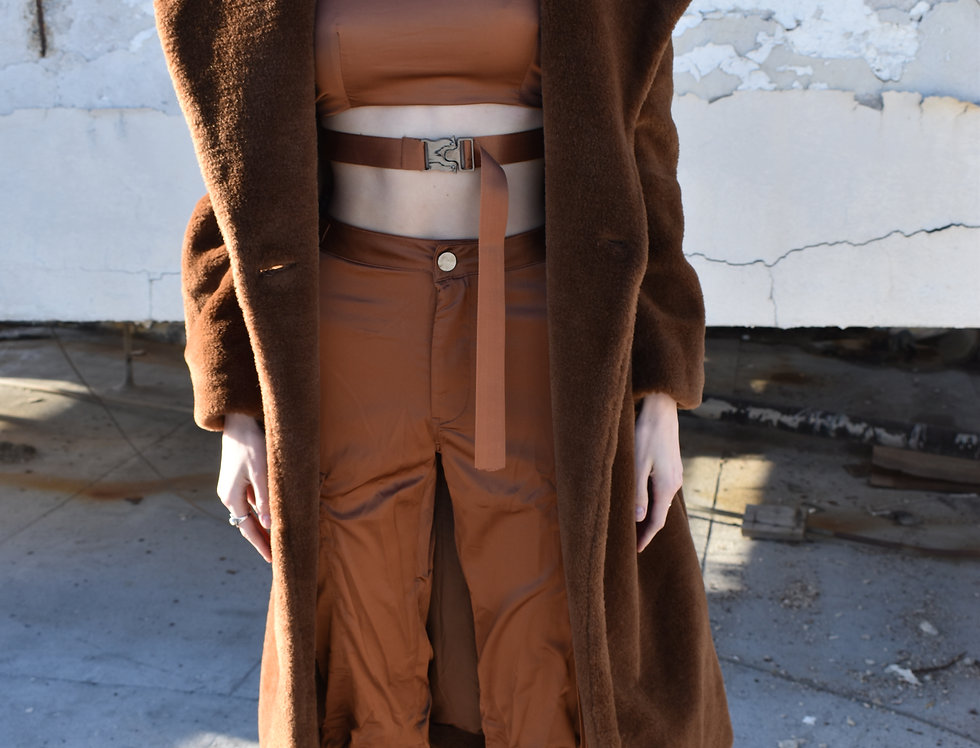 Brown Satiny Cargo Pants