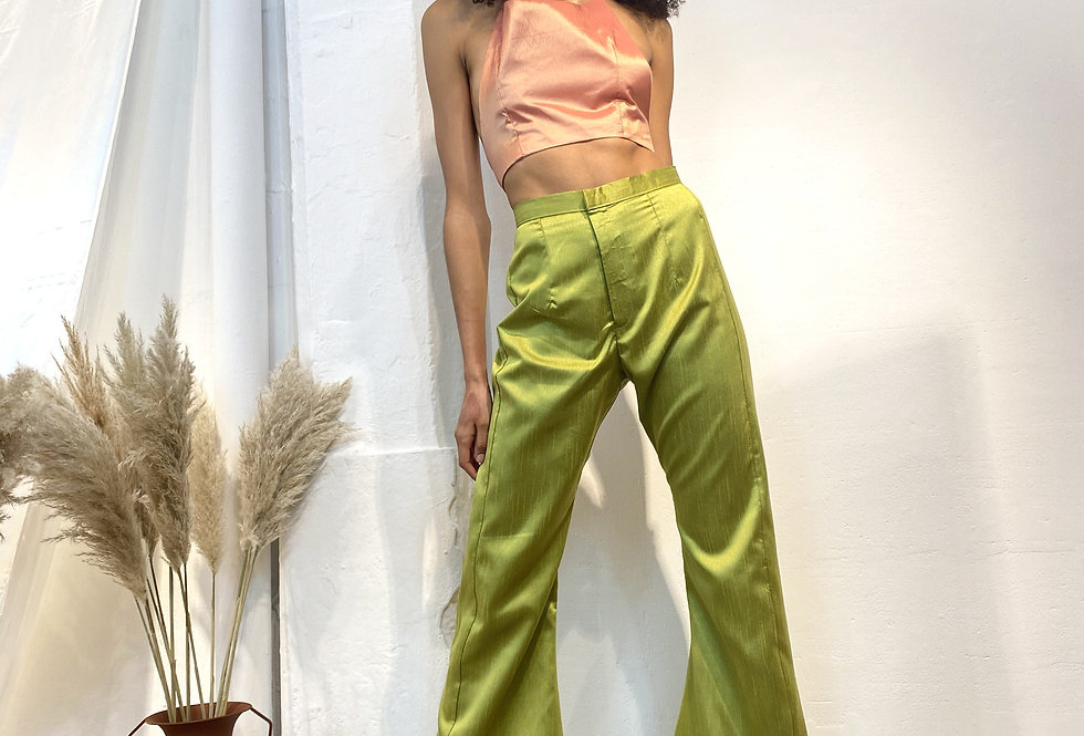 Mixed Victorian Flare Trousers - Green