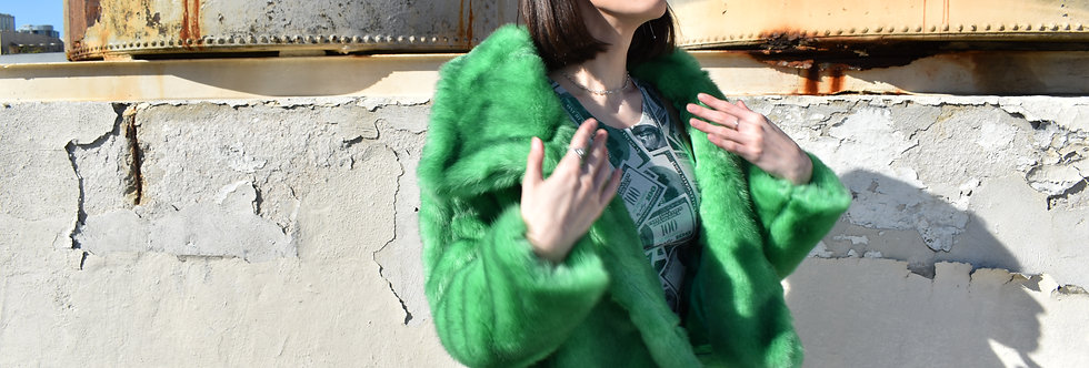 Money Green Cropped Fur Coat