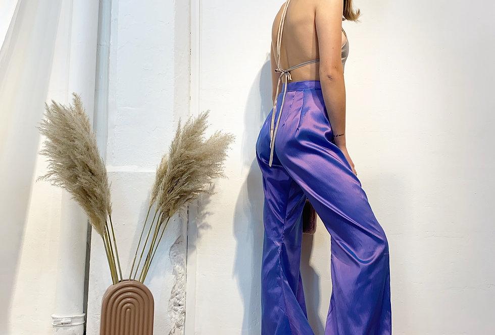 Mixed Victorian Flare Trousers - PurpleBleu