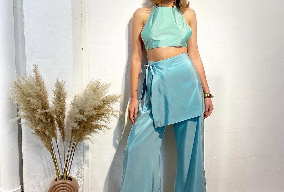 Tie Side Mini Skirt - Teal Blue