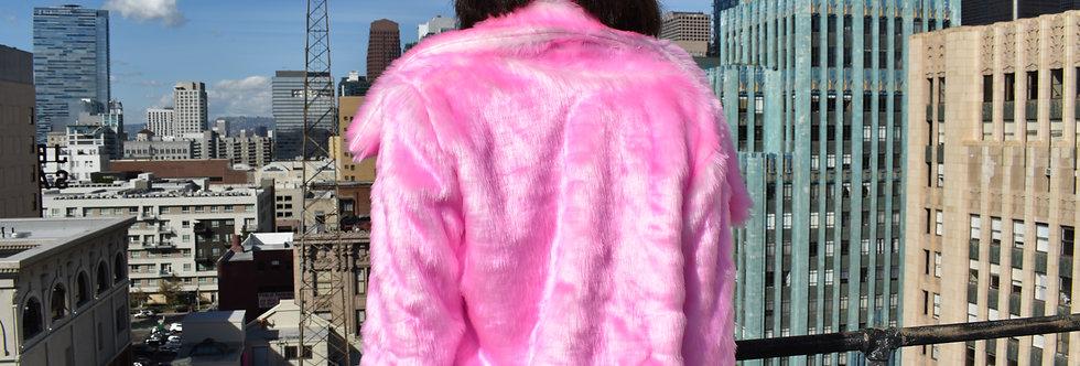 Frosty Pink Cropped Fur Jacket