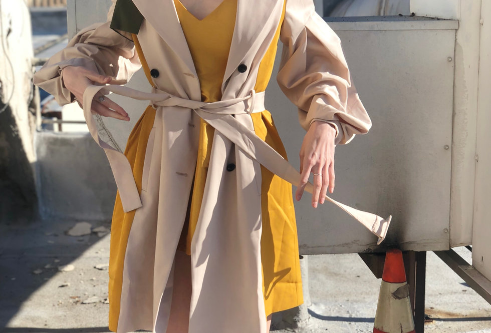 Colored Block Trench Coat