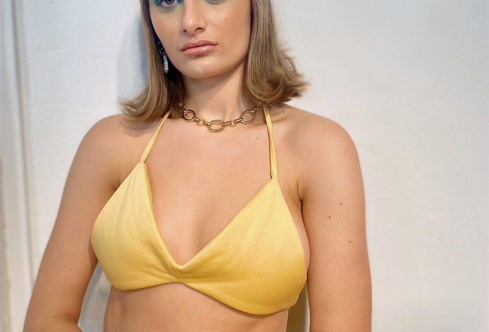 Yellow Triangle Padded Crop Top