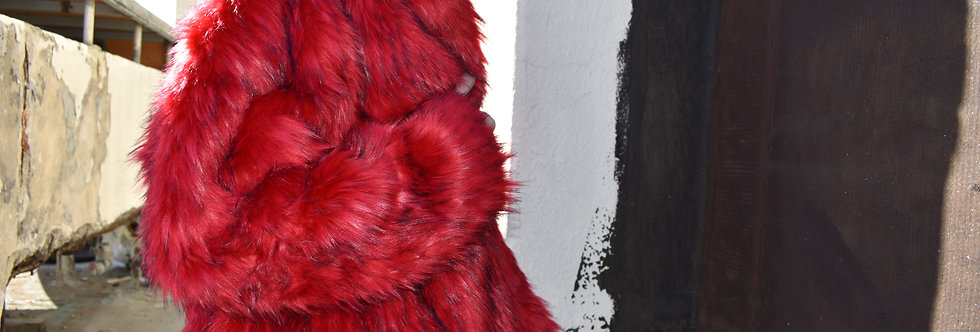 Red Fire Faux Fur Coat