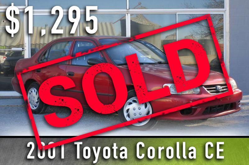 2001 Toyota Corola Sold