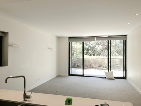 Empty Apartment Lounge/ dining- open plan- before staging