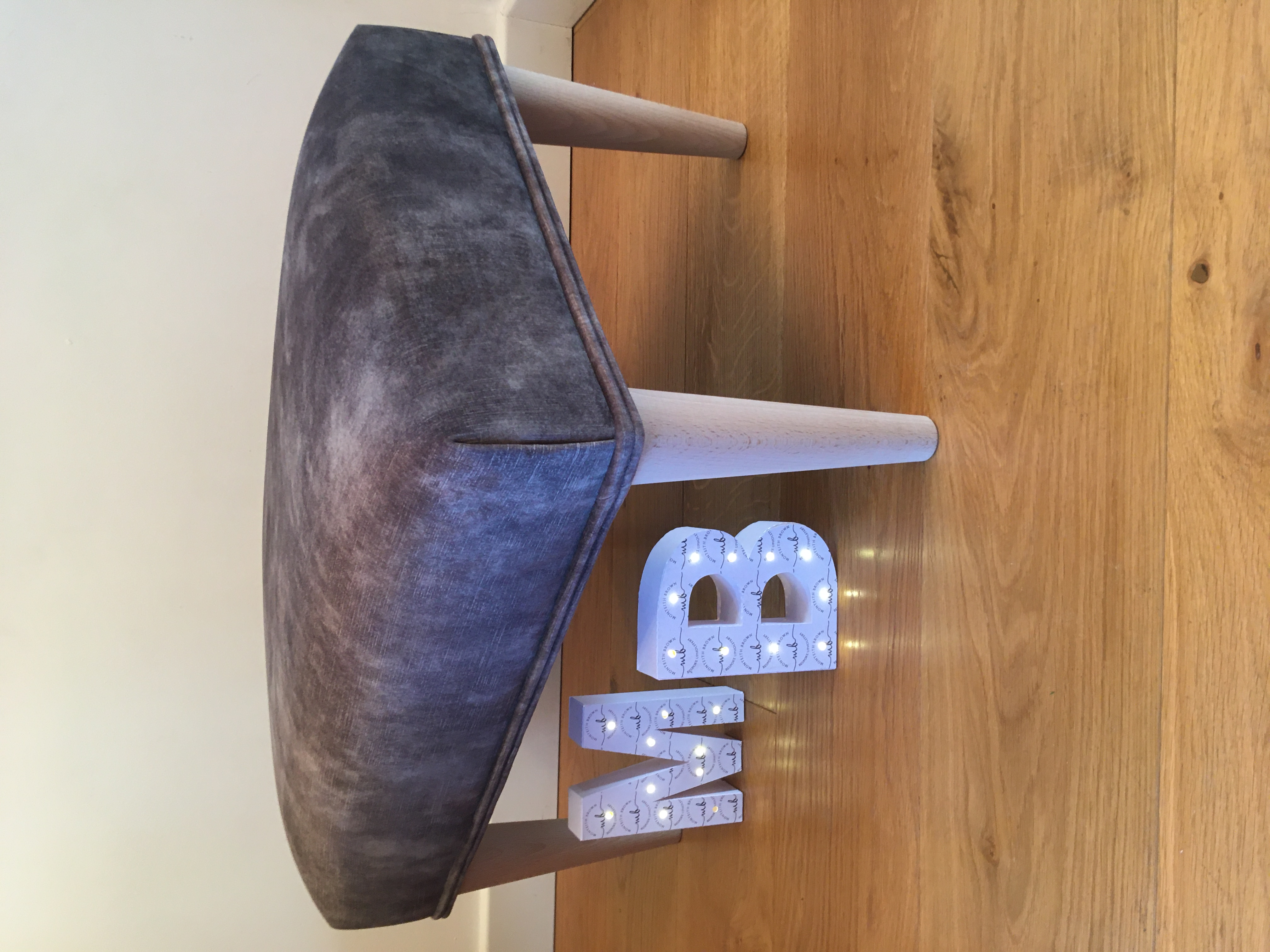 Grey Velvet bespoke footstool